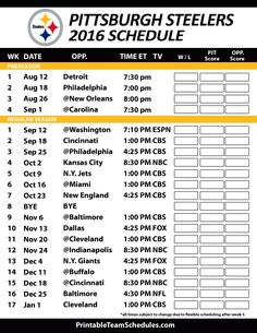 Pittsburgh Steelers 2016 Football Schedule. Print Schedule Here - http://printableteamschedules.com/NFL/pittsburghsteelersschedule.php