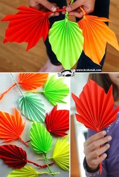 Krokotak folded paper fall leaves craft would be great to stick onto a large paper or painted tree shape