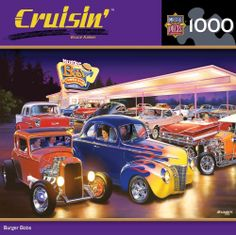 Masterpieces Cruisin Bruce Kaiser Burger Bobs Hot Rods Jigsaw Puzzle - 1000 pc