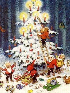 "Fritz Baumgarten ""Christmas"" postcard: ""Prettige Kerstdagen en een Gulukkig Nieuwjaar"" one of three known postcards, possibly a set of four, gnomes decorating a Christmas tree in the forest Noel Christmas, Vintage Christmas Cards, Vintage Cards, All Things Christmas, Christmas Pictures, Illustration Noel, Christmas Illustration, Yule, Advent"