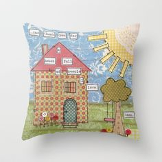 Family, Home, Love... Throw Pillow by The Artsy Girl Studio   - $20.00