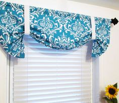 Tie Up Curtain VALANCE Turquoise Damask HANDMADE in the USA on Etsy, $49.00