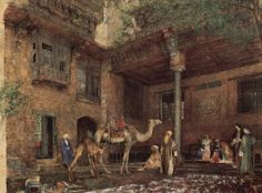 John Frederick Lewis, Courtyard in the Painter's House in Cairo, 1851, watercolor, 97.5 × 126 cm, Birmingham & Art Gallery