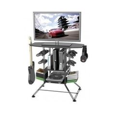 Playstation Gaming Desk Consoles Holder Game Furniture Home Office LCD Tv Stand  #PlaystationGamingDesk