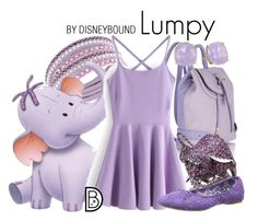 Lumpy by leslieakay on Polyvore featuring Nine West, Swarovski, Kate Spade, disney, disneybound and disneycharacter