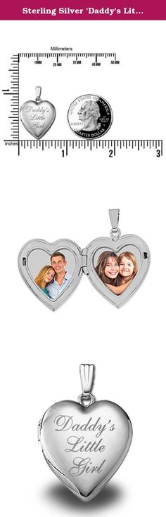 Sterling Silver 'Daddy's Little Girl' Heart Locket Pendant - 3/4 Inch X 3/4 Inch. Daddy's Little Girl Locket holds 2 photos. Locket size is 3/4 inch x 3/4 inch. The front of this locket is engraved with 'Daddy's Little Girl'. This is the perfect gift for any occasion.