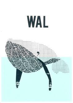 Siebdruck - KLEINER MOBBY Siebdruck Collage A3 Meer WAL Fisch - ein Designerstück von Morkebla bei DaWanda