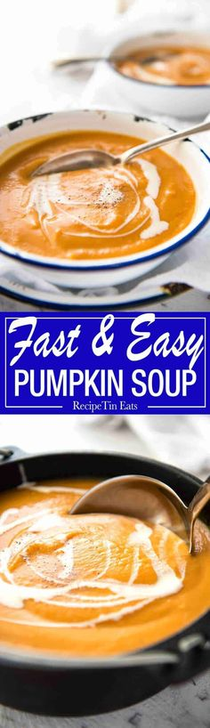 Classic Easy Pumpkin Soup - On the table in 15 minutes! Made with fresh pumpkin or butternut. Leave out cumin and turmeric Pumpkin Soup, Pumpkin Recipes, Fall Recipes, Soup Recipes, Cooking Recipes, Yummy Recipes, Budget Recipes, Cooking Games, What's Cooking