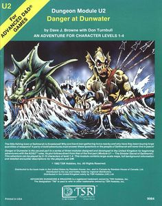 U2 Danger at Dunwater (1e) | Book cover and interior art for Advanced Dungeons and Dragons 1.0 - Advanced Dungeons & Dragons, D&D, DND, AD&D, ADND, 1st Edition, 1st Ed., 1.0, 1E, OSRIC, OSR, Roleplaying Game, Role Playing Game, RPG, Wizards of the Coast, WotC, TSR Inc. | Create your own roleplaying game books w/ RPG Bard: www.rpgbard.com | Not Trusty Sword art: click artwork for source
