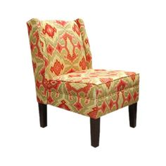 Love these colors! Shila Wingback Chair in Maize - Indulge in the comfortable yet eye-catching design of the irresistible Shila Wingback Chair. This modern twist on a classic form displays a bold tribal print against a stately wingback silhouette.
