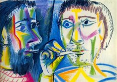 "Pablo Picasso - ""Two smokers (Heads)"", 1964"