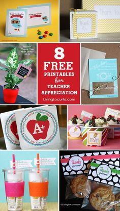 8 Teacher Appreciation Free Printables. Cute Thank You Cards, Tags and gift ideas. LivingLocurto.com