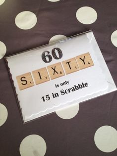 "Fun 60th Glitter Birthday Card for any Gender: ""Sixty is only 15 in Scrabble"""