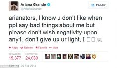 Ariana Grande - Tweeting About Haters