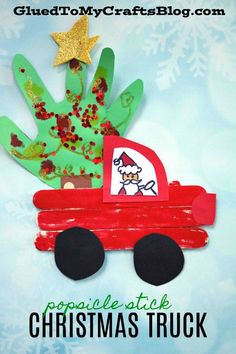 Popsicle Stick Christmas Trucks - Winter Kid Craft Idea w/Handprint Embellishmen., Popsicle Stick Christmas Trucks – Winter Kid Craft Idea w/Handprint Embellishments Kids Crafts, Holiday Crafts For Kids, Preschool Crafts, Craft Projects, Craft Ideas, Diy Ideas, Diy Christmas Ornaments For Toddlers, Winter Toddler Crafts, Christmas Crafts For Kindergarteners