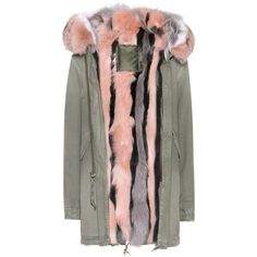 Mr & Mrs Italy Fur-Lined Cotton Parka ($5,455) ❤ liked on Polyvore featuring outerwear, coats, green, green parka coat, cotton parka, green coats, fur lining coat and parka coat