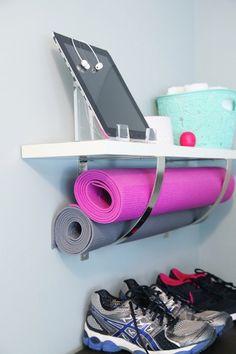 Love this small space saving yoga mat holder idea.