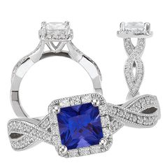 18k lab-created 5.5mm princess cut blue sapphire engagement ring with diamond halo