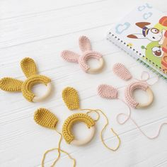 Bunny ears Crochet baby rattle Baby shower gift Rabbit rattle toy Bunny teether Baby toys for newborn Amigurumi rabbit Newborn toys : Crochet bunny ears) Crochet Baby Toys, Crochet Diy, Crochet Bunny, Crochet Dolls, Crochet Dinosaur Patterns, Diy Bebe, Newborn Toys, Bunny Toys, Baby Rattle