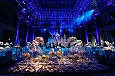 Romantic Wedding Centerpieces   Jewish Wedding at Capitale NYC, Blue, White, Silver {Anthony Vazquez Photography} - mazelmoments.com