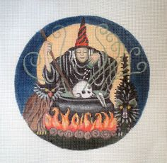 Handpainted New Special Witch's Brew Needlepoint Canvas by colors1 (Craft Supplies & Tools, Sewing & Needlecraft Supplies, Canvas & Stitchables, holidays, halloween, witch, cat, owl, ornament, cross stitch, embroidery, needlepoint, needlepoint canvas, needlepoint pillow, needlepoint pattern, funny needlepoint)