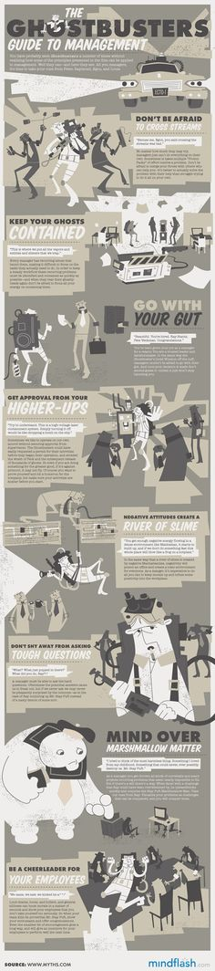 The Ghostbusters Guide To Management infographic, very minimal colour usage but still retains a big impact and interesting graphics