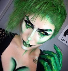 Envy The third look from my seven deadly sins series (revised). @katvondbeauty Lock It foundation in Light 45. Lock It Concealer in Light 16. @maccosmetics Studio Fix Powder in NC20. @morphebrushes 12P Picasso palette. @starcrushedminerals Stheno eyeshadow and Venom glitter. @suvabeauty Fanny Pack UV Hydra liner. @jeffreestarcosmetics Crocodile tears. @gogetglitter Oh So Lucky Glitter. @shineshack Gold leaf glitter (which is now all over my floor sadly because I dropped it during this loo...