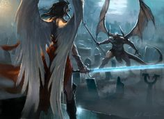Defy Death by Karl Kopinski Angel Demon, Angel Warrior, Angel And Devil, Angel Art, Vs Angels, Angels And Demons, Dark Souls, Mtg Art, Pop Culture Art
