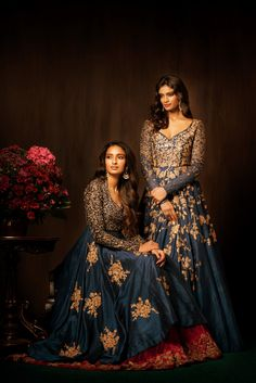These mood indigo gowns are truly luxurious and rich, with bodices done in zardosi, antique peeta and tonal thread work and bias flares, done in antique peeta. Pakistani Dresses, Indian Dresses, Indian Outfits, Indian Attire, Indian Wear, Indian Style, Bridal Outfits, Bridal Dresses, Shyamal And Bhumika