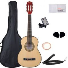 ADM Beginner Classical Guitar 30 Inch Nylon Strings Bundle with Carrying Bag & Accessories, Natural Gloss Learn Guitar Beginner, Guitar For Beginners, Best Acoustic Guitar, Cool Guitar, Guitar Wall, Acoustic Guitars, Cheap Guitars, Guitars For Sale, Guitar Tips
