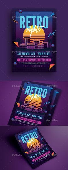 Retro Night 80s Event Flyer Template PSD, AI Illustrator • Download Creative Flyer Design, Creative Flyers, Creative Posters, Ticket Design, Event Poster Design, Vintage Graphic Design, Graphic Design Posters, 80s Posters, Event Posters
