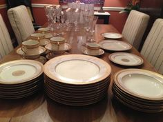 """♛ Mikasa Fine China Set 57 piece (8 full place settings w/some extras) - NEVER USED. """"Mikasa Ivory Florentine"""" China includes: ▪8 - soup bowls ▪ 9 - accent salad plates (with center emblems) ▪ 10 - dinner plates ▪ 10 - flat cup and saucer sets. """"Mikasa Jamestown-Clear (gold trim)"""" Crystal includes: ▪ 10 - water goblets ▪ 8 - iced tea glasses ▪ 2 - single light candle sticks. ▶ We are asking only $900 or best offer."""