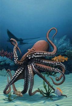 The ghoti and — Phillip A. Singer Underwater Animals, Underwater Painting, Underwater Creatures, Life Under The Sea, Beautiful Sea Creatures, Octopus Art, Kraken, Sea Monsters, Sea And Ocean