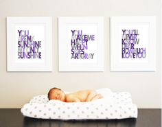 You are my Sunshine Set of 3 - Wall art print - gray and purple - nursery art. $46.00, via Etsy.