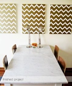 These gold Chevron paintings were featured in Apartment Therapy and we thought they were a wonderful Stencil-bility! You can use our Chevron stencil on your choice of canvas size and with your fave color - VOILA!