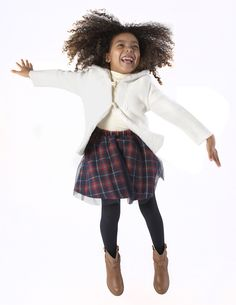 Winter-Holiday 2016: Andy & Evan's Shearling Knit Jacket and Holiday Plaid Skirt with Tulle Overlay are ready for the season's festivities. www.andyandevan.com