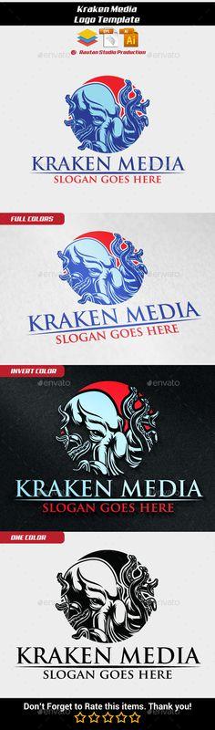 Kraken Media,agency, animal, beast, business, corporate, creative, entertainment, graphic, illustration, kraken, media, octopus, rounded, stylish, wild