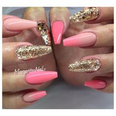 Rose gold and ombré coffin nails