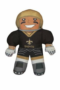 """Northwest New Orleans Saints NFL Rush Zone Player Pillow NOR-1NFL121000021RET by Northwest. $4.32. Officially licensed. Shell is 100% Polyester - 100% Polyester Fiberfill. Includes: One New Orleans Saints Rush Zone Player Pillow. NFL Rush Zone Player Pillow. Dimensions: Approximately 21"""" Tall. With its large; full-color; graphics on both sides; these NFL player shaped pillows are not only unbelievably soft for holding or resting on; but are a great way to start..."""
