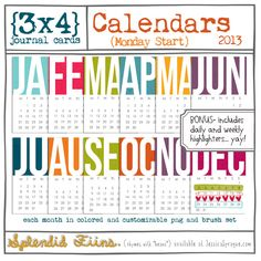 back for 2013! cards feature all twelve months- each in one colorful jpg and one customizable png file to color as you like- and brush set! BONUS- includes weekly + daily highlighters
