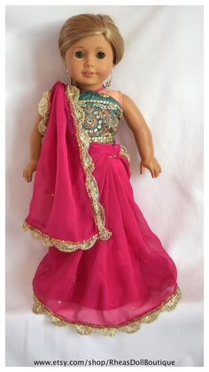 American Girl Doll Princess Outfit Sari/Saree by RheasDollBoutique