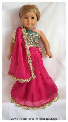 American Girl Doll Princess Outfit Sari/Saree by RheasDollBoutique
