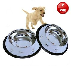 Mr. Peanut's Set of 2 Etched Stainless Steel Dog Bowls, 32oz Dry Weight, Easy to Clean and Bacteria Resistant, Rust Proof with Non-Skid No-Tip Natural Rubber Edge, Beautiful Bowls for Medium Dogs ** Trust me, this is great! Click the image. : Cat items
