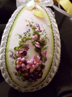 Pink flowers on easter egg #ribbonEmbroidery