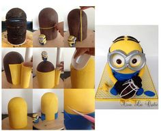 Minion cake I have the ball cake pan. I could use 1/2 of one on top of round layers.