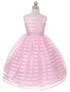 Your little girl will look like a princess in this sweet pink burnout stripe organza dress with jeweled waist (girls sz.2-12) - flower girl, special occasion, wedding, Easter ~ Color Me Happy Boutique