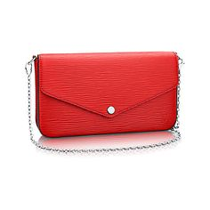 Pochette Félicie (3,205 PEN) ❤ liked on Polyvore featuring bags, handbags, clutches, chain handbags, red handbags, red shoulder bag, chain shoulder bag and shoulder handbags