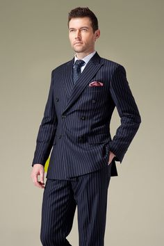 Handmade Double Breasted Navy Pinstripe Suit by UPUNIQUE on Etsy, $390.00