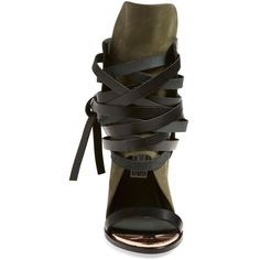 """Ivy Kirzhner'Mount' Wedge Sandal, 4 3/4"""" heel ($750) ❤ liked on Polyvore featuring shoes, sandals, leather sandals, wedge heel sandals, open toe high heel sandals, wedges shoes and lace up wedge sandals"""