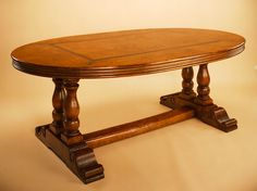 Oak Oval Table on Paired Pedestals